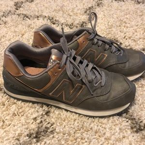 Metallic gray with rose gold new balance sneakers